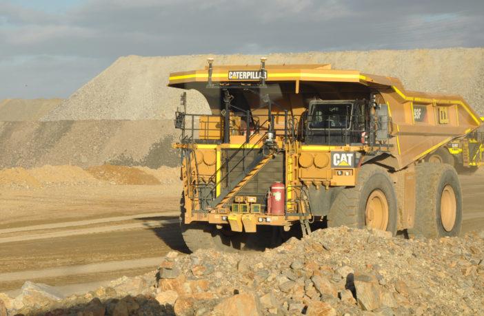 A Cat autonomous mining truck
